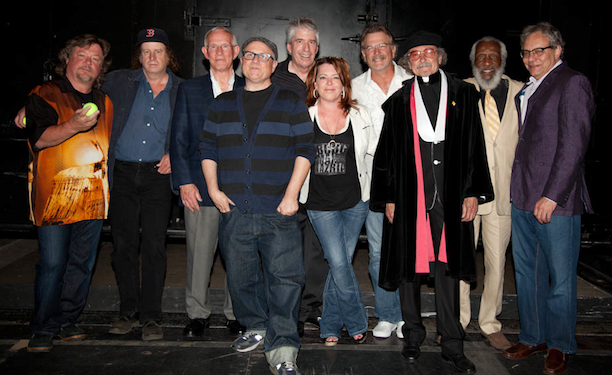 (right-to-left) Lewis Black, Dick Gregory, Father Guido Sarducci (Don Novello), Bill Engvall, Kathleen Madigan, Chris Bliss, Bobcat Goldthwait, Tom Smothers, Steven Wright, Danny Zelisko